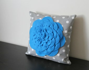 Decorative Throw Pillow Cover, Blue Mum Flower on Gray Pillow Cover, Accent Pillow, Toss Pillow,18x18, Sofa Pillow, Bedroom Pillow Cover