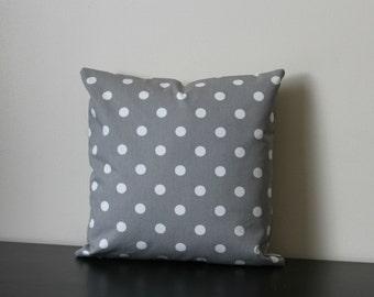 Decorative Throw Pilllow,Toss Throw Pillow,Gray and White Polka Dots Pillow Cover,Sofa Pillow, Accent Pillow,18x18,20x20, Pillow Case