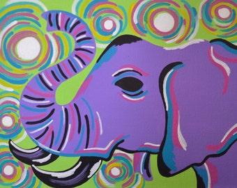 Purple Elephant Art, 8x10 Inch Print, Elephant Artwork, Elephant Art Print, Elephant Decor, Elephant Gift, Purple Wall Decor, Purple Print