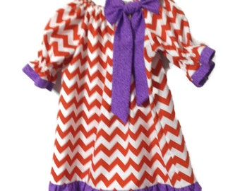 Infant Girls Peasant Dress - Purple and orange chevron dress - Girl's peasant handmade and modest dress - girls clothes - childrens clothes