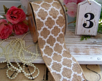 Lattice Design Burlap Ribbon, Burlap, Wreath Supplies, Lattice, Burlap Trims, Burlap Ribbons, Shabby Style, Cottage Chic, Rustic Chic, White