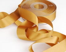 Dark Gold Double Satin Ribbon 25mm (1 inch) width, Berisfords shade no. 20 Old Gold (copper)