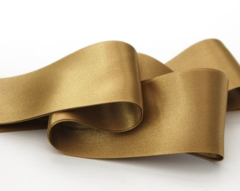 Gold Double Satin Ribbon 50mm (2 inch) width, Berisfords shade no. 6835 (Straw)