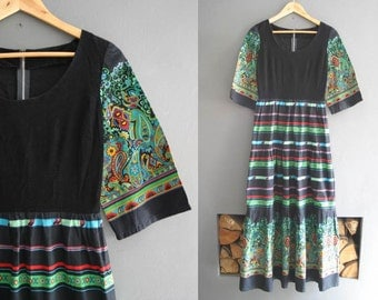 70s Cotton Print and Velvet Folk Maxi Dress XS