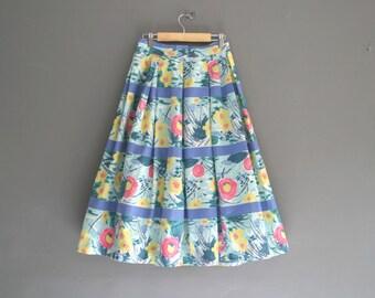"1950s Cotton Floral Print Skirt 24"" - 26"""
