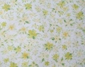 Half Yard of Vintage Sheet Fabric - Muted Green and Yellow Floral