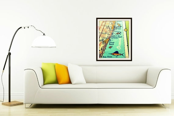 Delray Beach Map, Mid Century Modern Map, Mid Century Art, Mid Century Florida Art, Gifts for Him, Mens Gift, Illustrated Map, Florida Gift