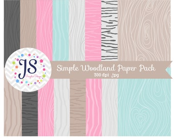 INSTANT DOWNLOAD, woodland or wood grain digital paper for commercial use or personal use