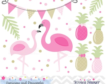 INSTANT DOWNLOAD, flamingos and pineapple clipart and vectors for personal and commercial use