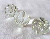 Vintage Clear Glass Rose Knob 3 Knobs