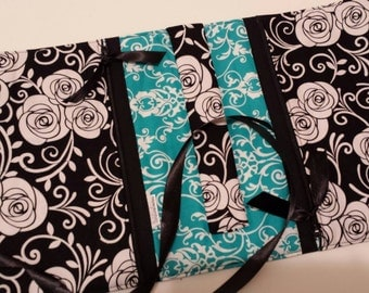 Ready to ship! Teal, Black, Grey, and White Floral Scroll Patchwork Print Travel Jewelry Roll