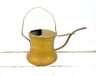 SALE Vintage Copper and Brass Weighted Watering Can