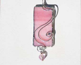 Blush Color Stained Glass Asymmetrical Pendant With Crystal Drop Original Design Handcrafted Jewelry