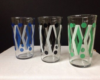 Retro Glassware - Tumblers - Diamonds and Polka Dots- Set of Three - Variety of Colors