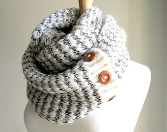 Grey White Infinity Scarves Knit Neckwarmer Circle Scarf with Buttons Women Girls Accessories