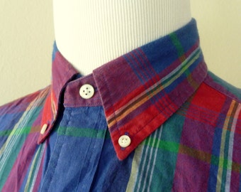 Vintage POLO by Ralph Lauren 100% Cotton Indian Madras Plaid Trad / Ivy League Casual Shirt L.  Made in India.