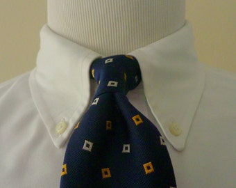 Vintage POLO by Ralph Lauren 100% Silk Navy Blue with White and Yellow Squares Trad / Ivy League Neck Tie.  Handmade in ITALY.