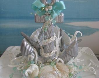 Anchor Wedding Cake Topper~Seashell ~Starfish ~Beach Wedding Cake Topper~Nautical Cake Topper