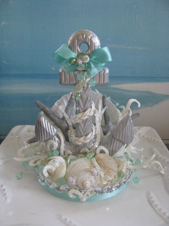 anchor wedding cake topperseashell starfish beach wedding. Black Bedroom Furniture Sets. Home Design Ideas