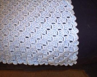 Blue Crochet BabyCrib  Blanket