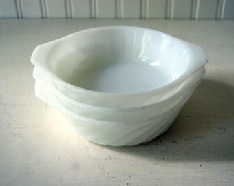 CLEARANCE Vintage Fire King Swirl Milk Glass Miniature Casserole Baking Dishes Bowls