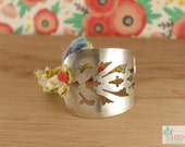 Silver & Vintage Fabric Chick Cuff