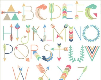 Arrow Alphabet Clip Art -Personal and Limited Commercial Use- geometric alphabet Clipart