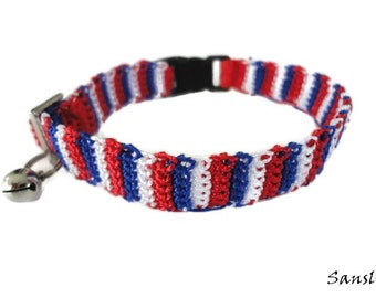 Cat collar-collar cat-adjustable collar-custom collar-crochet cat collar-cat accessories-.Adjustable cat collar white,red and blue with Bell