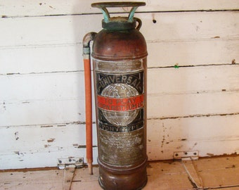 Fire extiguisher- Industrial Decor-Vintage decor- Fire- Antique Fire Extiguisher - Copper Extiguisher - Fire department Decor -