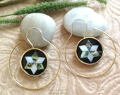 """Earrings, Jewish """"The Magen David I"""" Handcrafted, MOP Shell, Paua Shell, Brass & Sterling, Classy Hoops"""