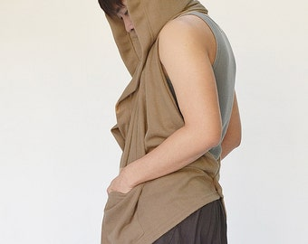 NO.128 Camel Cotton Blend Hoodie Scarf, Button Front Shawl, Versatility Cape, Unisex Scarf