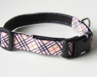 Tan Plaid Dog Collar/Classic Dog Collar/Pet Accessory/Adjustable Sizes/(XS, S, M)