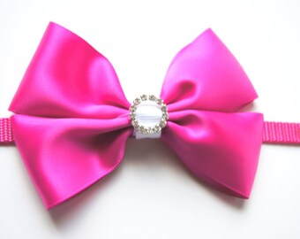 Hot Pink Bow Dog Collar Attachment