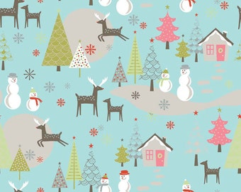 "Riley Blake Designs ""Merry Little Christmas"" by Zoe Pearn - Merry Main Aqua - 1/2 yard"