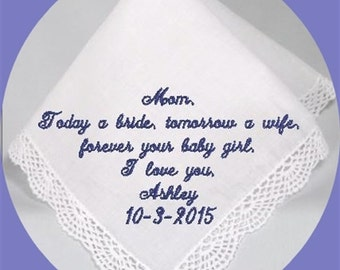 Mother of the  Bride  Heirloom Embroidered, Personalized Hanky, Gift, Handkerchief