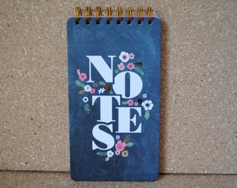 Chalkboard Floral Notes Spiral Notebook with Top Binding