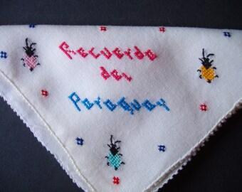 Hand Embroidered Paraguay Souvenir Hanky . Vintage Handkerchief . Recuerdo Del Paraguay . Ants . South America Vacation