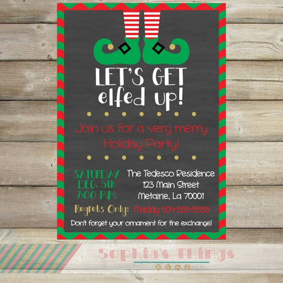 Work Christmas Party Invites: Let's Get Elfed Up Christmas Party Invitation Holiday