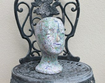 French Map Covered Female Mannequin Head - Shabby Chic, Vintage Style, Shop display, Home Decor, Art