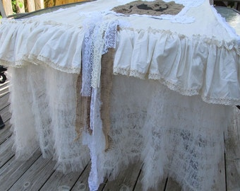 Rustic farmhouse table runner home decor or shabby country chic wedding petticoat ruffled style one of a kind table decor anita spero design