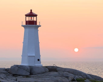 Peggy's Cove Light Photograph - Nova Scotia Lighthouse - Landscape Print - Canada Maritimes Photo - Sunset Photo - Peggy's Cove, NS