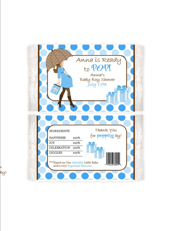 Ready to pop personalized popcorn wrapper baby boy shower for Ready to pop popcorn labels