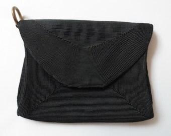 FAB 40s/50s Black Cord Clutch / Purse / Evening Bag, Snaps Shut, Inside Zipper Compartment