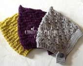 Hand knitted Leaf Lace Pixie Hat,Patterned Pixie Hat,Newborn to 4 years.Custom Colour