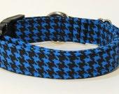 Houndstooth Dog Collar, Blue Houndstooth, FREE SHIPPING, dog collar, adjustable dog collar