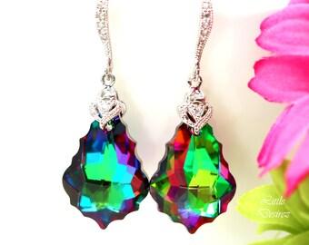 Green & Pink Earrings Colorful Bridesmaid Earrings Swarovski Crystal Electra Earrings Sterling Silver Bridal Earrings Dangle Earrings EL30H