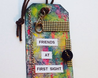 Altered Tag-Friends At First Sight-gift Tag-Art Tag