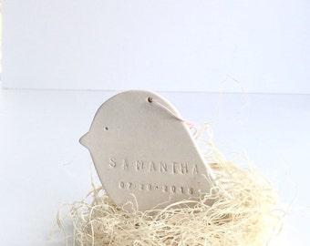 Bird Personalized Ornament Baby Bird Nest  White Minimal Custom Holiday Christmas Gift Keepsake Decor Porcelain Pottery MADE TO ORDER