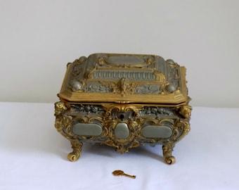 Erhard & Sohne Antique 1900's Art Nouveau Gold Gild Rare Locking Jewelry Box - Royal Blue Velvet - Original Key - Cherub Angles - German