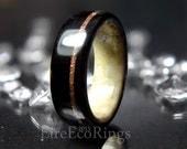 Deer antler wedding ring with bog Oak wood